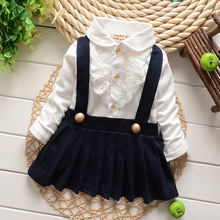 New Full Sleeve Baby Dress Turn down Collar Formal Infant Girls Dresses Cotton Babies Birthday Clothes
