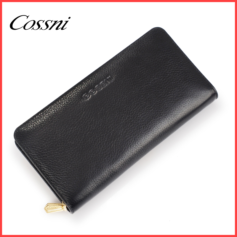 Long black zipperd women casual fashion pu leather wallet