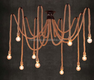 New design hemp rope lamp multi heads vintage retro bulb holder wicker pendant lights with 4-10holders