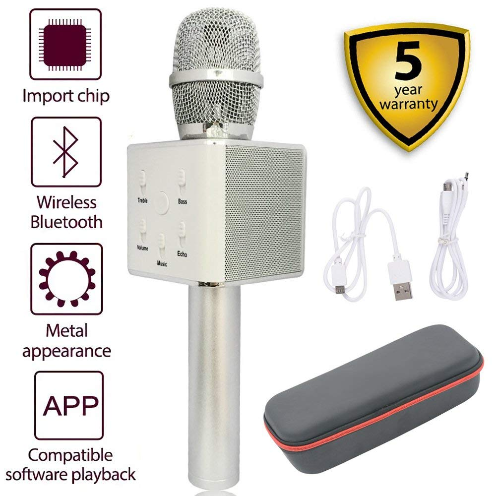 Bluetooth Karaoke Microphone,Q7 Portable 3-in-1 Handheld Wireless Microphone Bluetooth Speaker for Apple iPhone Android Smartphone PC Music Playing Singing Home KTV(Q7 Silver)