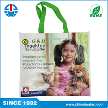 Fugang China Most Popular Eco Durable PP Woven Bag With Green Handle