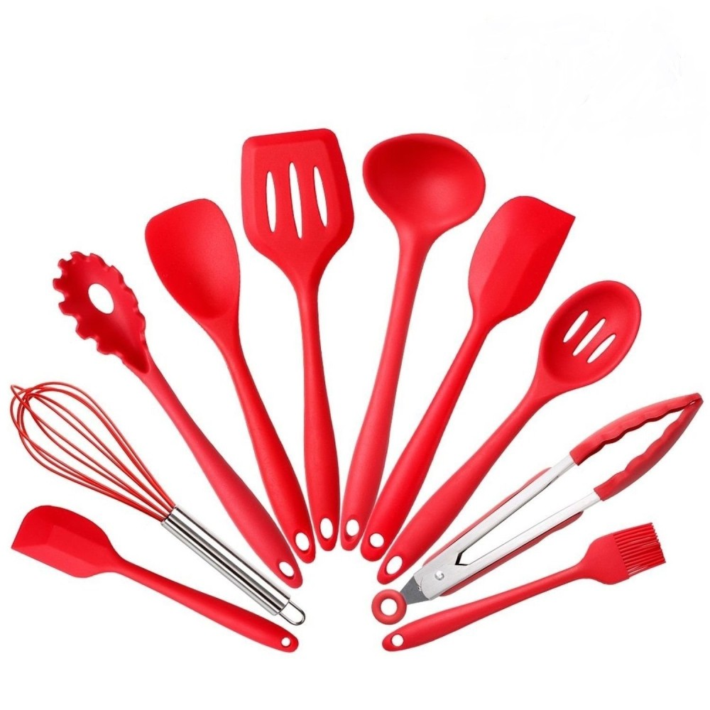 10 piezas de silicona utensilios de cocina suministros de cocina conjunto utensilios - Utensilios de cocina de silicona ...