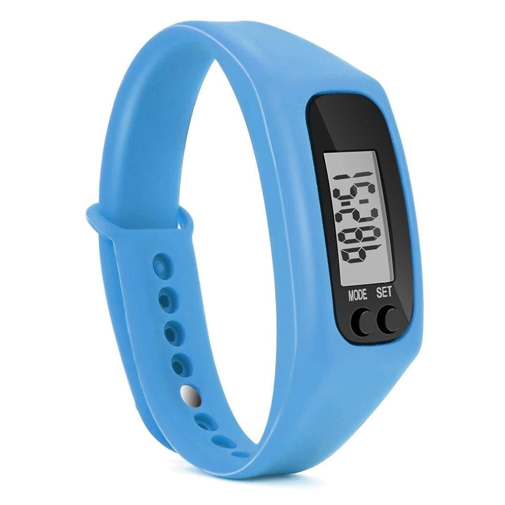 Gotd Sport Digital Silica Gel Bracelet Pedometer for Women Men Kids Boy Girl Casual Wholesale Luxury Fashion Calorie Counter Digital LCD Walking Distance Run Step Watch (Blue)
