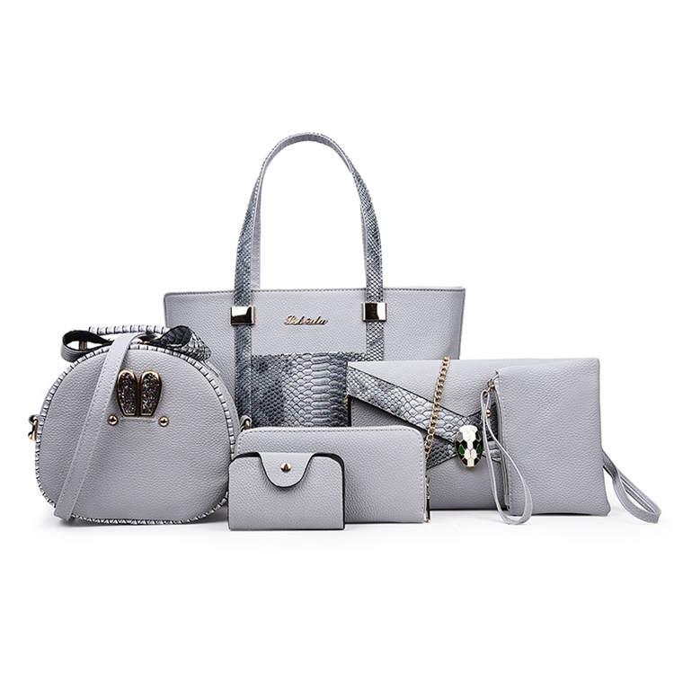 China Suppliers Whole Handbag Custom Leather Handbags Set With 6pcs For Women