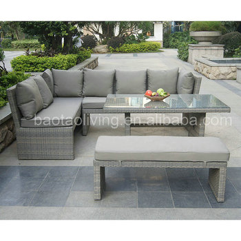 Aluminum Corner Rattan Sofa Furniture Garden Sectional Sofa Set With Dining  Table - Buy Corner Sofa Set Designs,Outdoor Furniture,Poly Rattan Garden ...