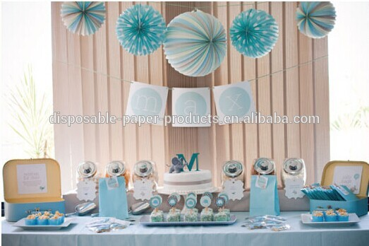 blue accordion paper lanterns party idea pastel dessert tables decorations kids birthday party decor