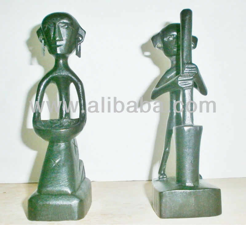 Acacia Wood Carving of Women Gathering Rice and Man Grinding Rice