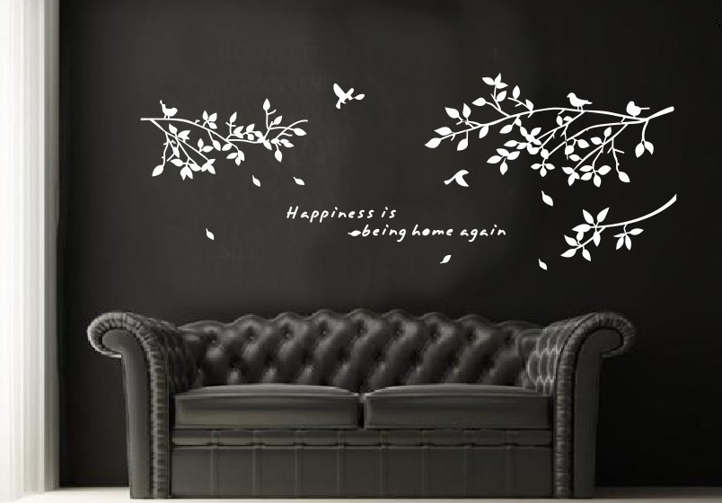 Cute Wall Stickers Decor Art Vinyl Diy Mural Decal Sticker Trees Branches Birds White Living Room Bedroom Home