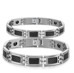 Black white Two Tones Energy titanium Stainless Steel power health bracelets for Couples