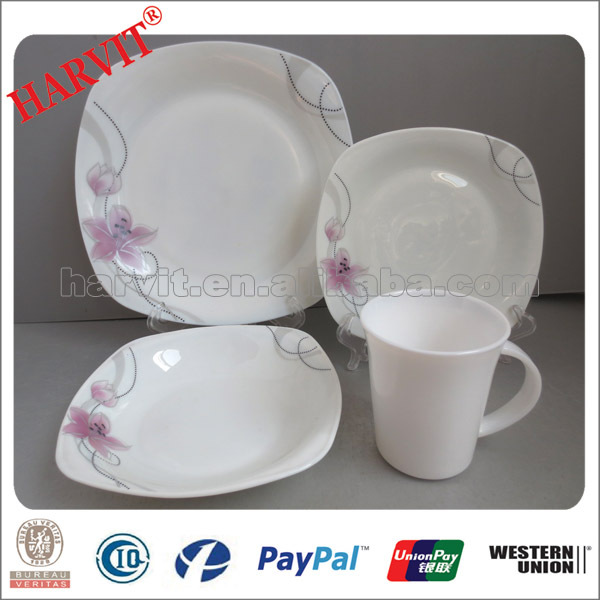 Food safe Opalware Square Plates/For Dubai Market Opal 16pc Glassware Dinner Sets/Square & Food Safe Opalware Square Plates/for Dubai Market Opal 16pc ...