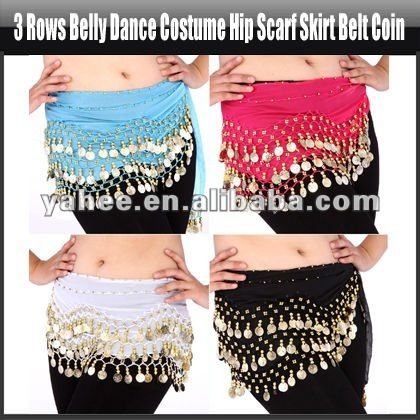 Wholesale 6 pieces 88 coins shining sequins Hip Scarf Belt Chain Belly Dance NEW