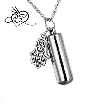 Hamsa hand of fatima cylinder cremation urn necklace memorial hamsa hand of fatima cylinder cremation urn necklace memorial keepsake pendant ashes holder aloadofball Gallery