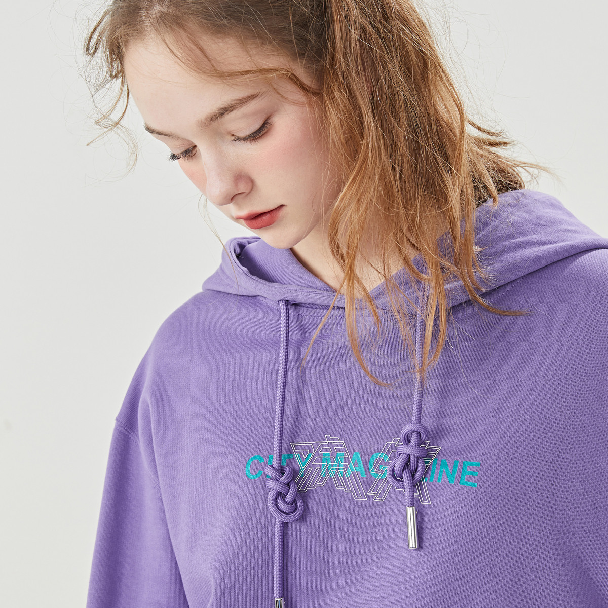 Free Breath 2019 Spring New Products South Korea Lazy Fall Shoulders Clash Colors Ribbon Women hoodie
