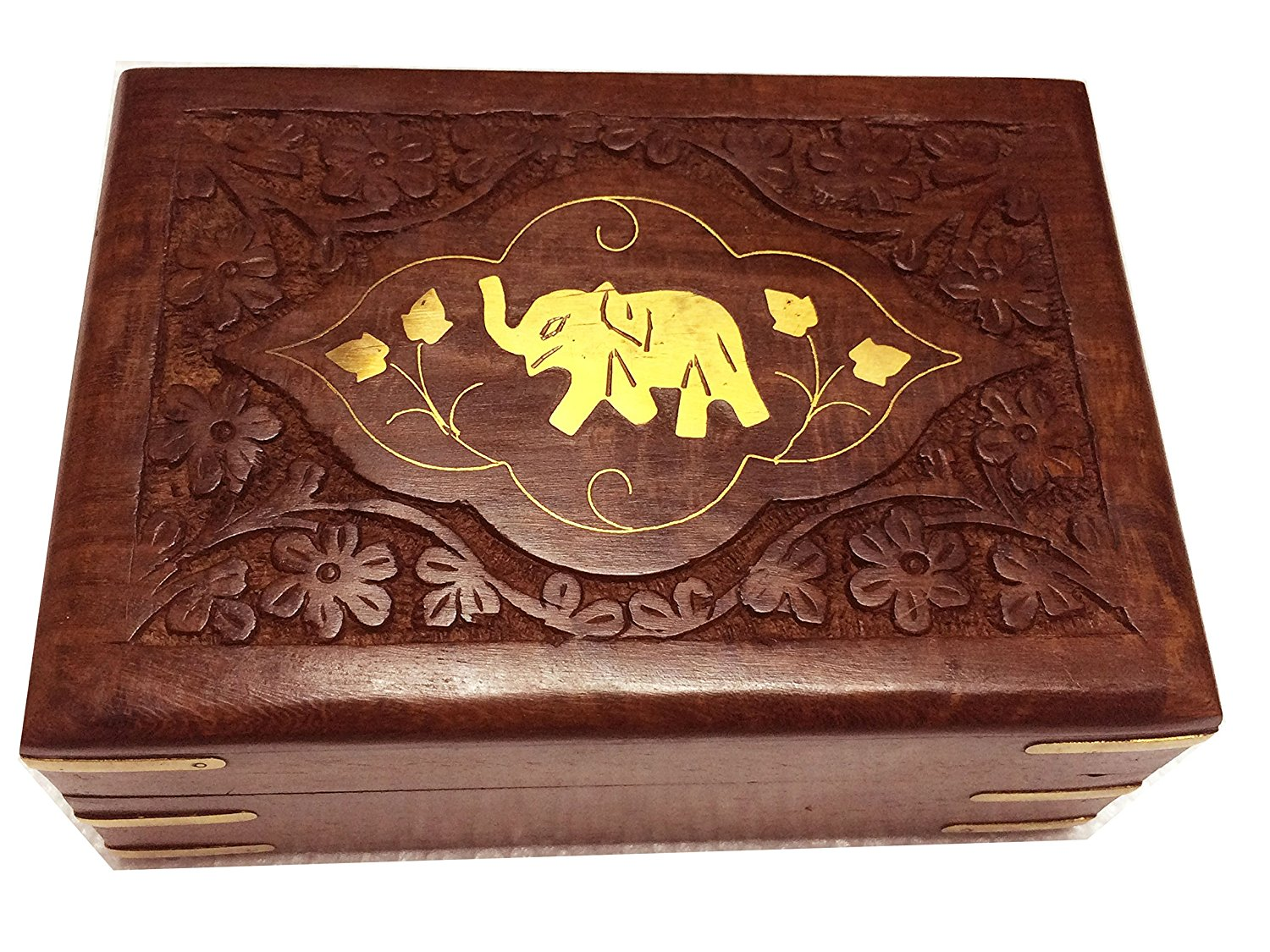 Valentine Day Special Present, Wooden Single Elephant Carving Jewelry Storage Box, Vintage Box, Wooden Keepsake Storage Box, Jewelry Box, Jewelry Trinket Box, Brown Color Size 6X4 inch
