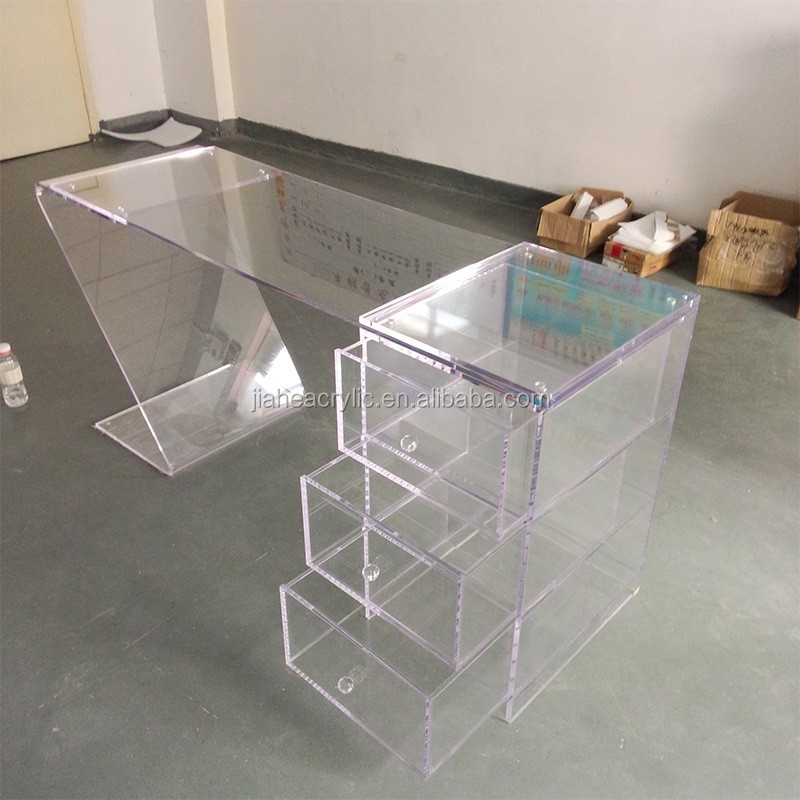 clear transparent acrylic office table with drawer