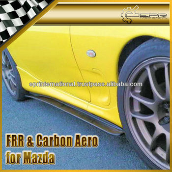 For Mazda FD3S RX7 FRP Carbon Fiber Feed Style Side Skirt Add On Extension