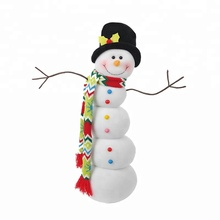 Christmas Decoration Supplies 19.5 inch Fleece Fabric Table Top Decoration Stuffed Snowman Doll with Scarf