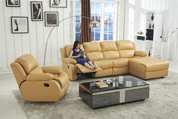 Beige Pu Leather Recliner Corner Sofa