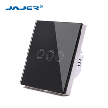 Jajer EU/UK standard 3 gang 1 way touch switch touch screen light switch