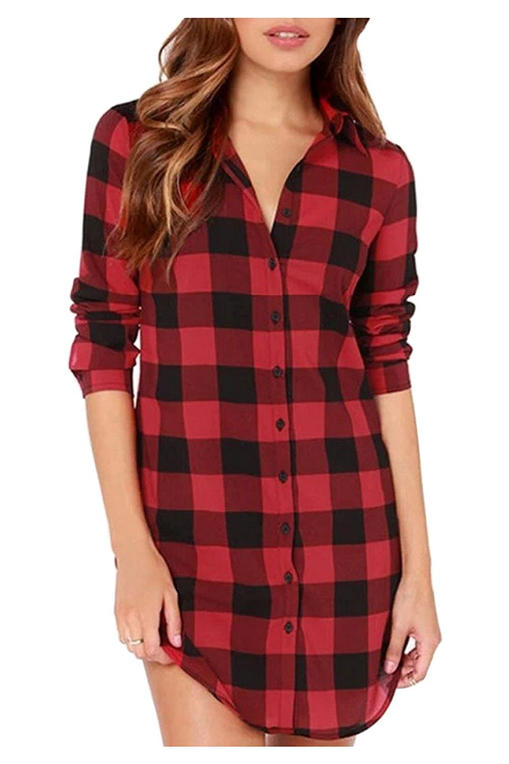 Get Quotations · Kumer Women s Plaid Shirt Buffalo Plaid Long Tunic Loose  Long Sleeve Casual Button Down Shirt Top 6905a1f4097