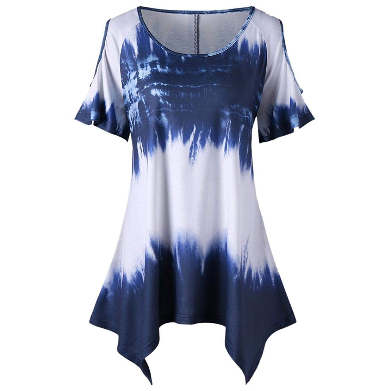 BCDshop Summer Shirts Womens Tie-dye Fashion Plus Short Sleeve Open Shoulder Tee Tops