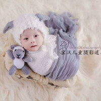 Knit Sheep Hat and Toy Set Newborn Baby Bonnet and Doll Baby Girl Boy Photo Shoot Props Animal