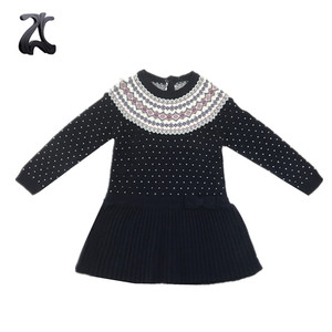 Kids Girls Fashion Jaccquard Knit Fall Sweater Dresses For Baby