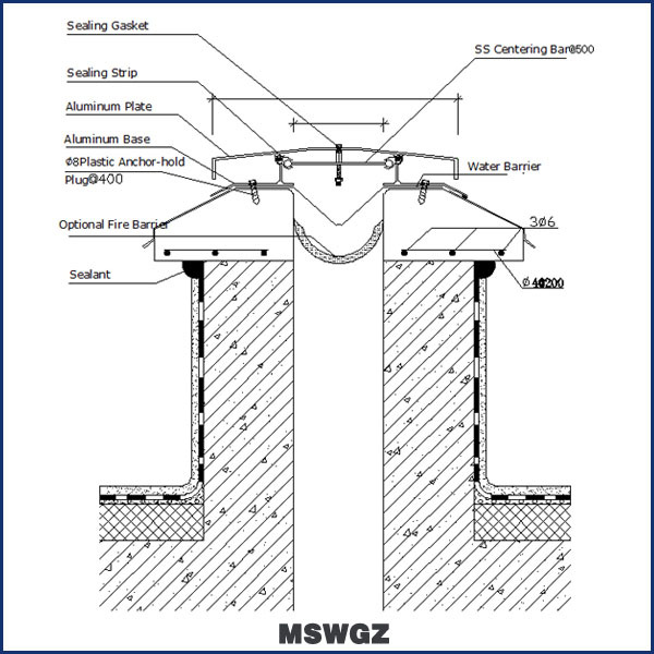 Reinforced Aluminum Profile Concrete Watertight Roof Joint