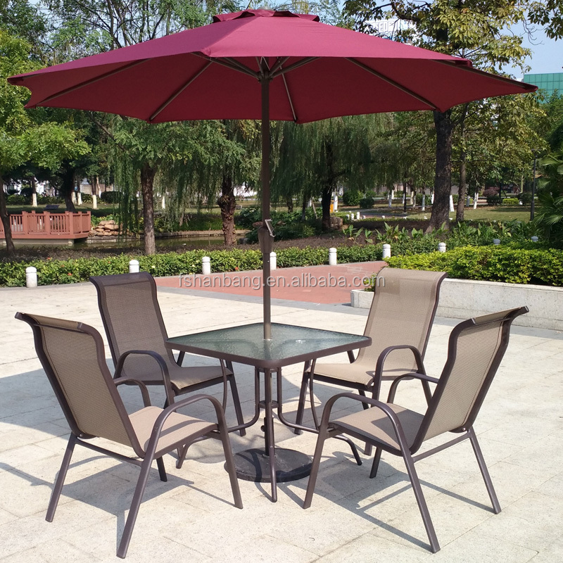 Light Weight Outdoor Garden Balcony Aluminum Sling Patio Furniture 3,5 Pcs  Glass Table Stackable