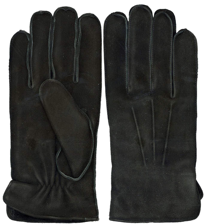 GRANDOE Men's OAKBROOK Genuine SUEDE Leather Glove with Real SHEARLING FUR Cuff