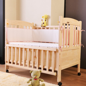 New Design pine The multifunctional pine baby bed Folding adjustable wooden baby crib