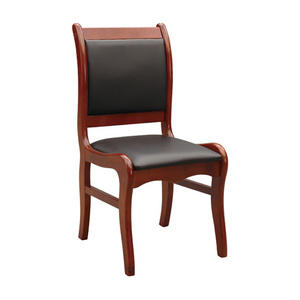 Wood&Leather Office Meeting Chair Meeting Room Staff Chair No Arms