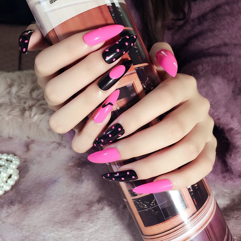 Buy 24pcs Nails Kit Super Long Fake Polka Kot Design Nail Art Pink Black False Tips Pointed