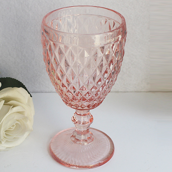 LXHY-PG01 Good price eco-friendly drinking pink colored thick-walled wine glasses goblet with embossed diamond pattern