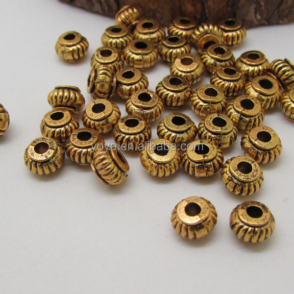 Gold Plated Silver Antique Beads: Js0919 Antique Gold Plated Metal Rondelle Spacer Beads