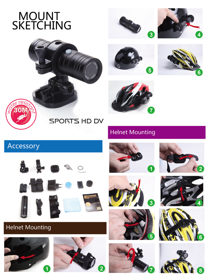 Hot Sales 2019 ! 1080P Full HD Outdoor Sports Camera Lens: 12MP HD 120 wide-angle lens ----- DV-02