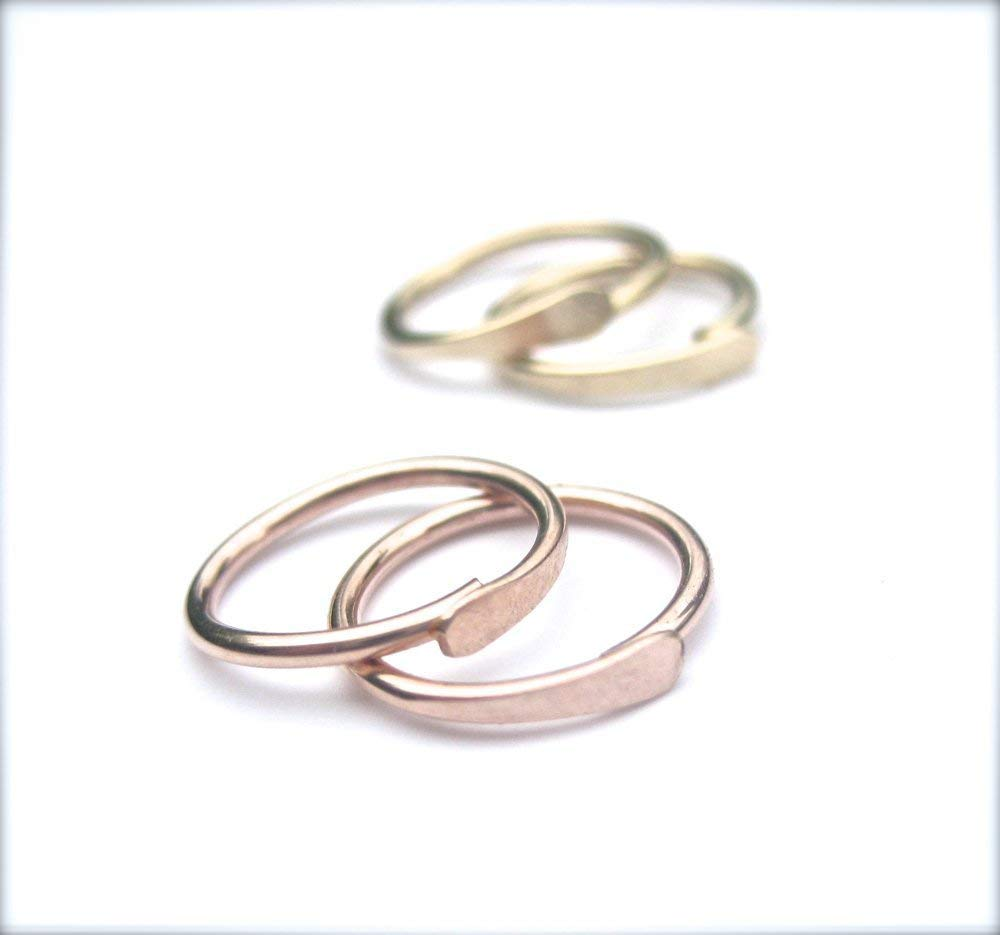 765f37c9b Get Quotations · Small Hoop Earrings, Cartilage Hoops, Second Hole Piercing:  14K Yellow Gold Fill,