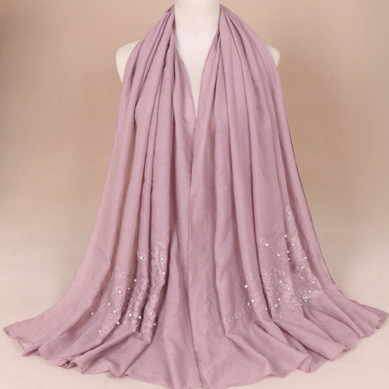 Wedding hijab with stone natural color scarf wholesale hijab arabic shawl