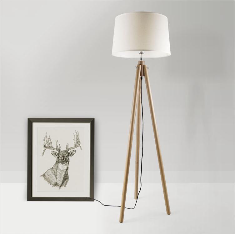 Modern Simple White Shade Tripod Standing Wood Floor Lamp For Living Room Buy Wood Floor Lamp Tripod Floor Lamp Wood Standing Lamp Product On