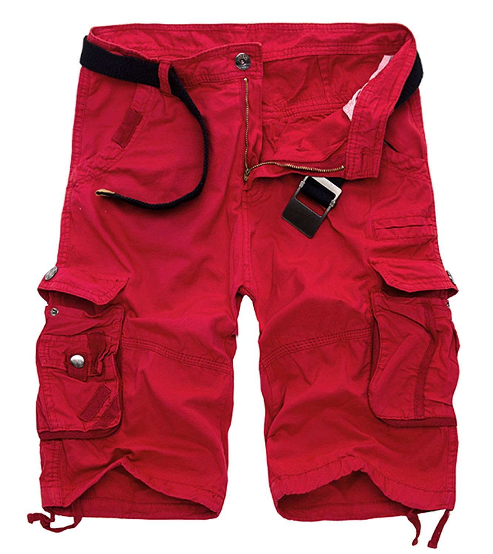 Acquaa WSPLYSPJY Men Summer Cargo Shorts Camo Cotton Multi Pocket Khaki 34