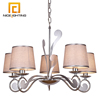 NICE lighting 5 Light chrome silver color lighting chandelier with grey fabric shade