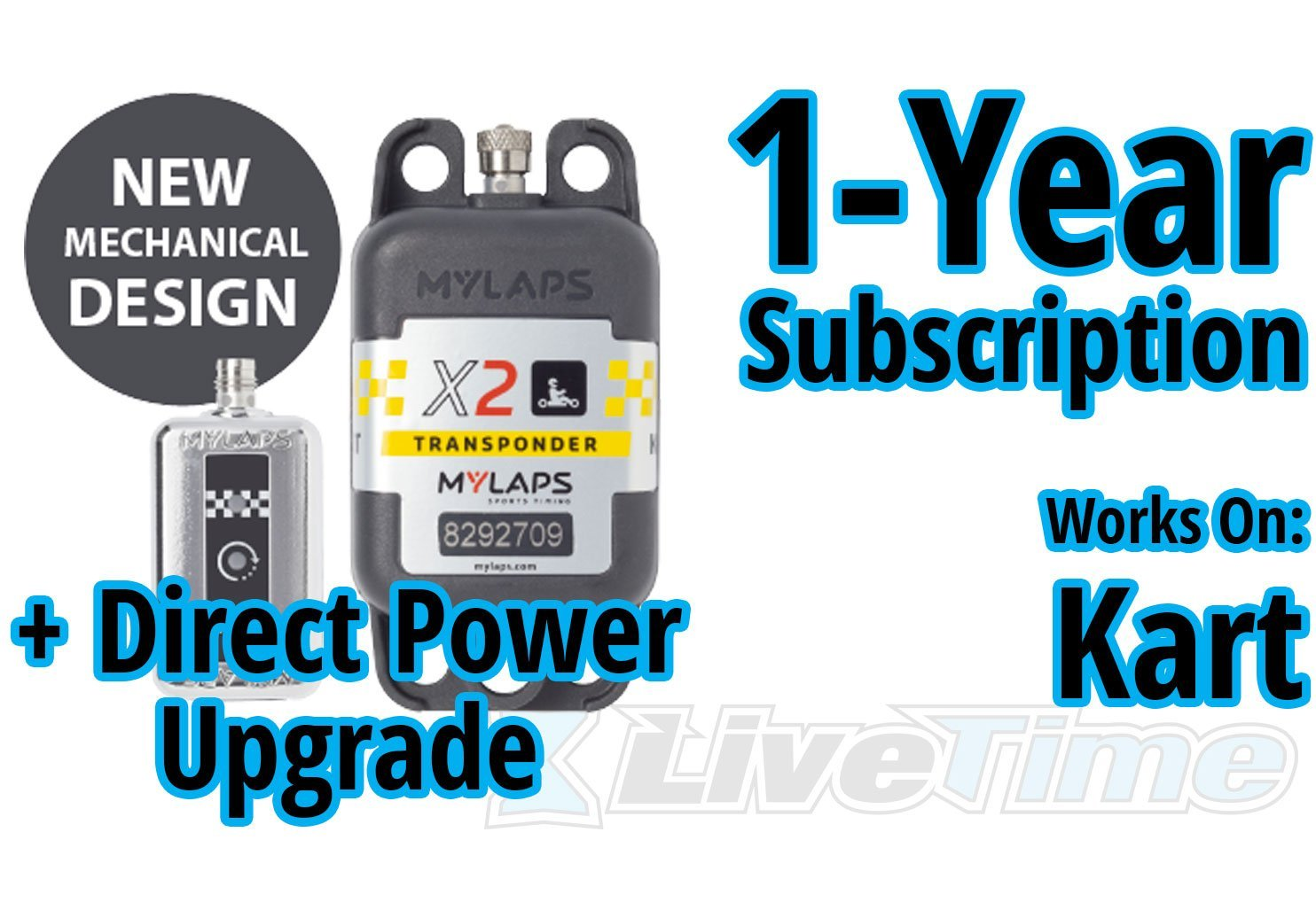MyLaps X2 Transponder, Direct Power, for Karting, includes 1-Year Subscription