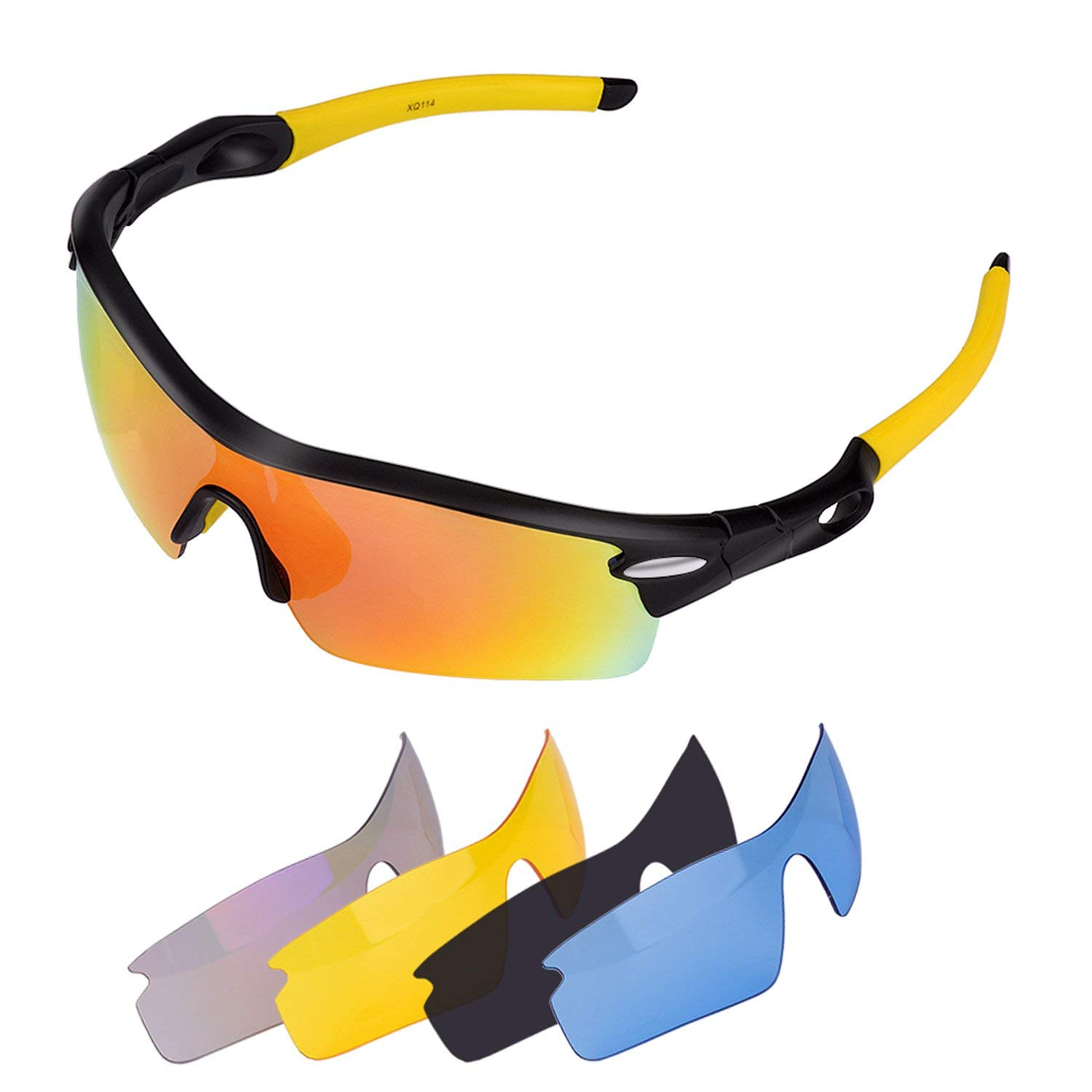 4b0ec97feb6 Get Quotations · Tager Polarized Sports Sunglasses Glasses with 5Set  Interchangeable Lenses for cycling