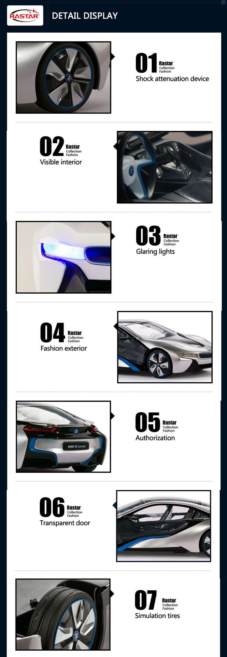 RASTAR new car sale price made in china 1:14 BMW i8 sport rc car with lights