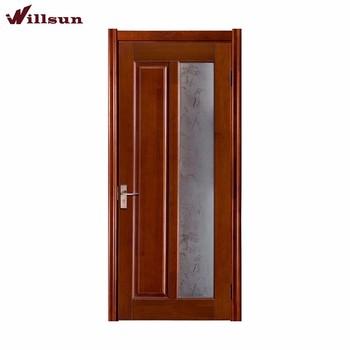Glass Printing Ornamental Solid Wooden Interior Door Bathroom Doors