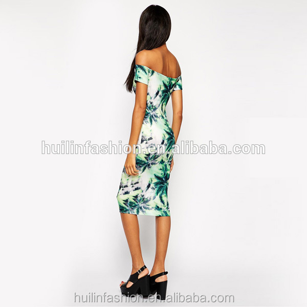 5dd0c3b30 بانكوك الملابس بالجملة الاستوائية بالم طباعة bodycon اللباس-ملابس أم ...