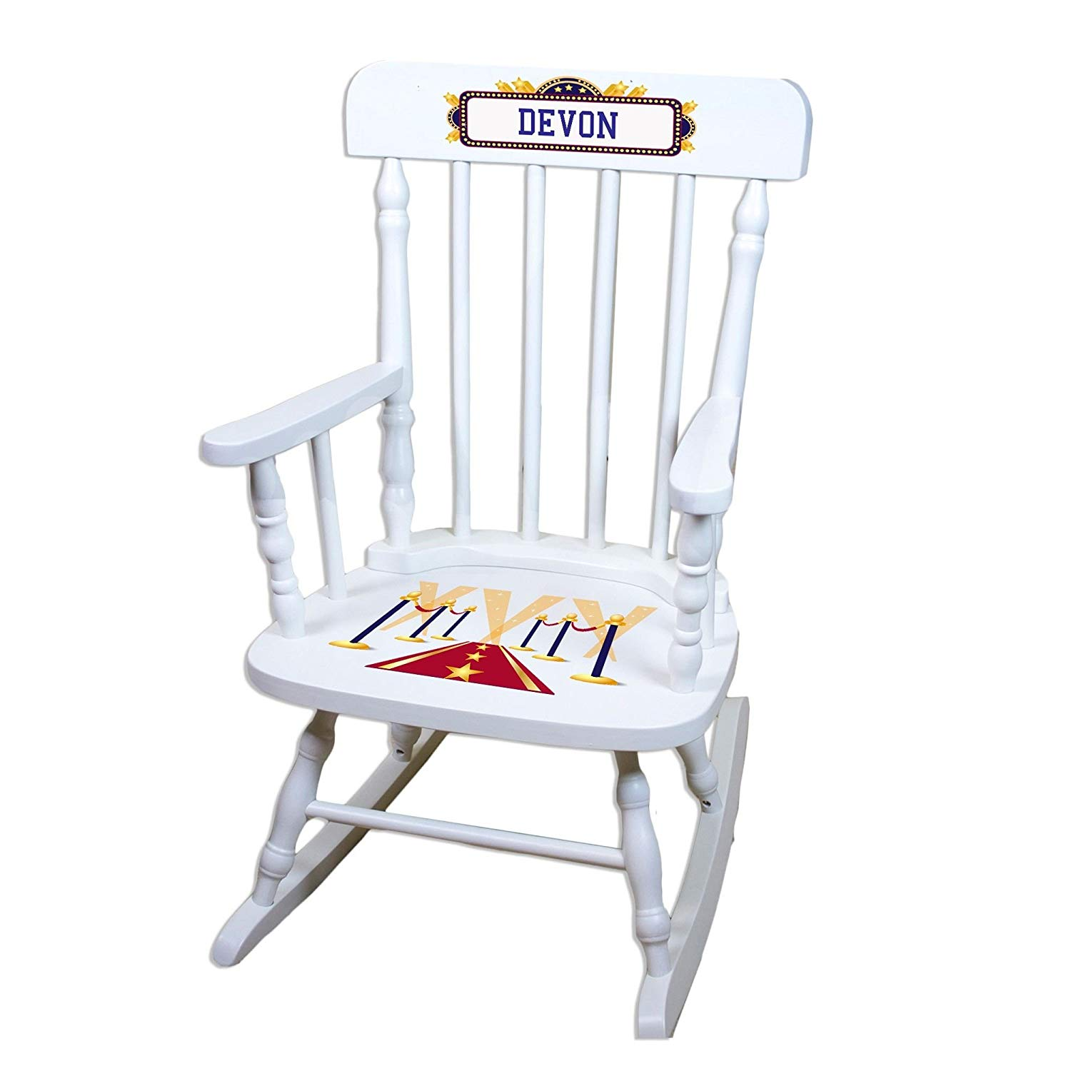 MyBambino Personalized A Star is Born blue White Wooden Childrens Rocking Chair
