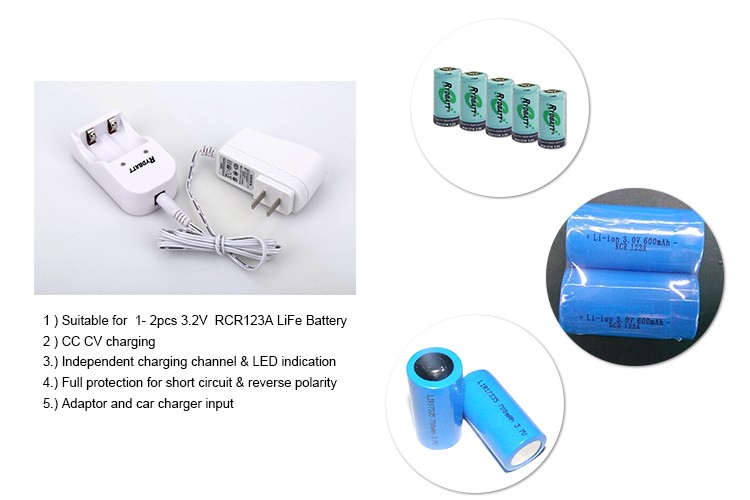 Factory direct high quality 2 slot RCR123 3.65V LiFe Battery Charger