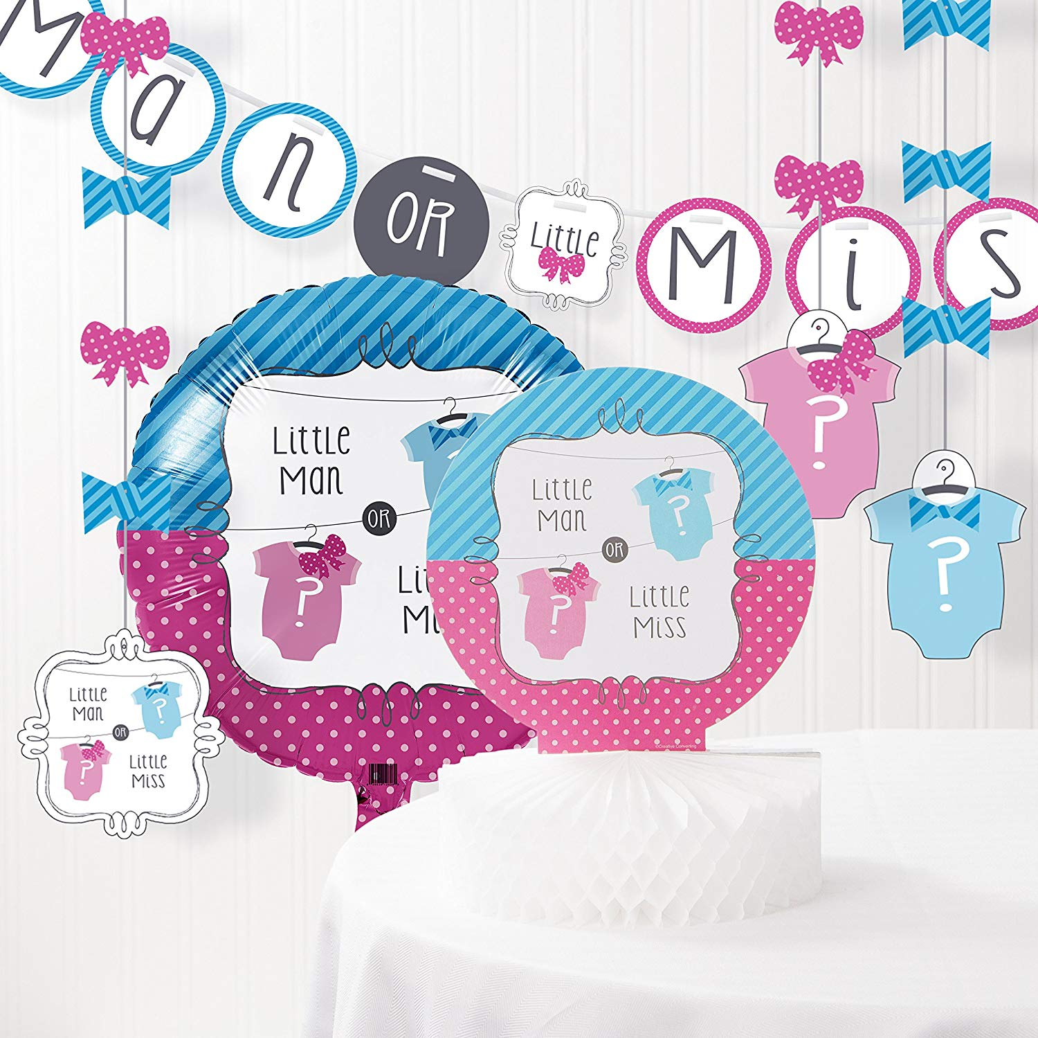 Bow or Bow Tie Gender Reveal Baby Shower Decorations Kit