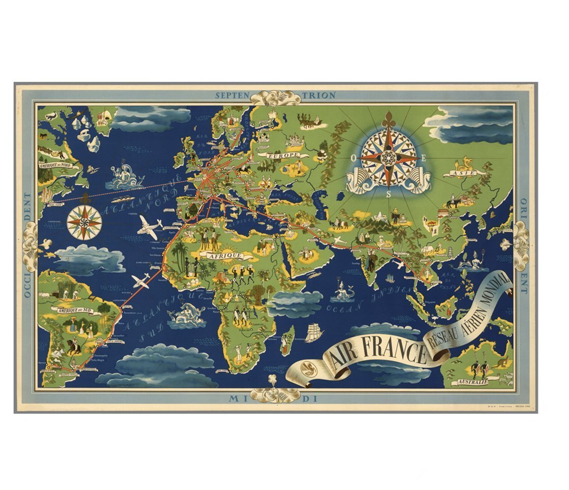 Home Decor Wall Sticker Vintage Map Room Decor Wall Decals for Living Room Bedroom Store Office,19.1 x 30 Inch